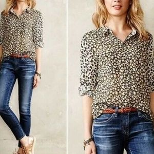 Holding Horses Anthropologie floral blouse size 8